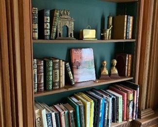 Leather books and other; brass