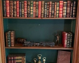 Leather books; brass
