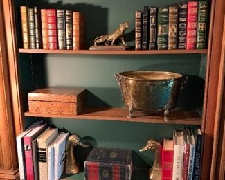 Leather books; other books; brass