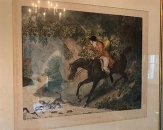 """Fox Hunting Scene """"Chasseur Egare"""" by Carle Vernet"""