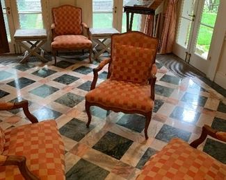Set of 4 checker board chairs