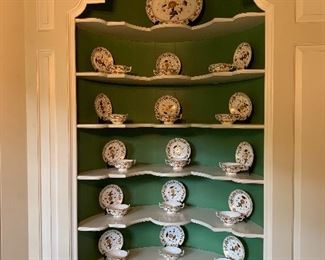 24 Royal Crown Derby cream soup bowls and under plates and a platter