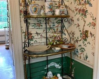 Brass and iron baker's rack in the breakfast room. Pottery NOT in sale.