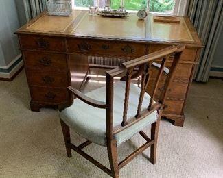 Leather top desk -Baker furniture