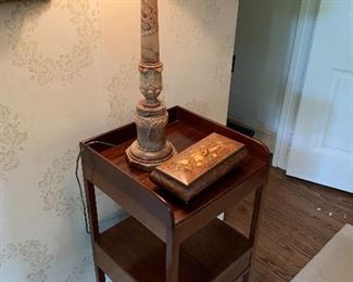 Stone lamp; Sorrento music box. Stand not included in sale.