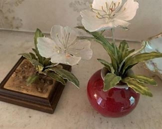 Pair of metal enamel flowers