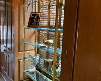 Very large brass and glass shelf