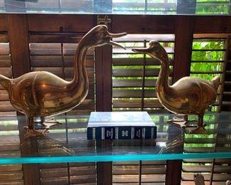 Pair of brass ducks; lots of brass