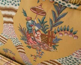 Asian fabric, yellow tufted headboard
