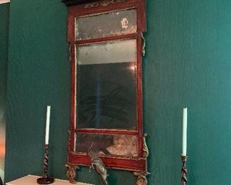 Antique mirror; barley twist candle sticks