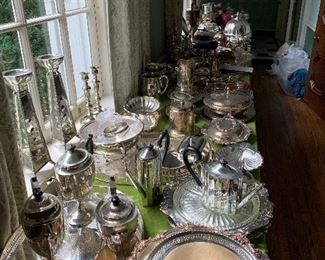 One of 5 tables of silver plate