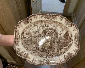 iron stone turkey platter