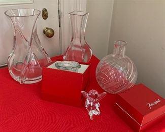 Baccarat vases, jam pot, angel