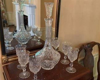 Cut crystal decanter set