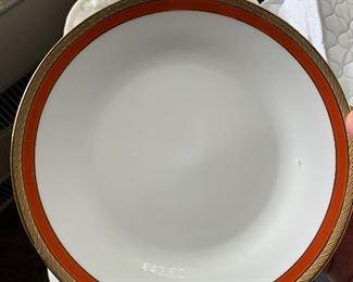 Italy, Richard Ginori china set; white, gold and orange rims