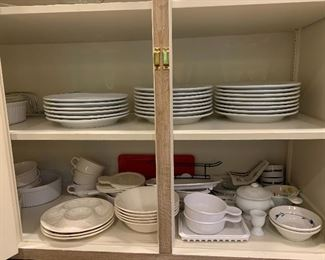 White every day dishes; bake ware, cookware