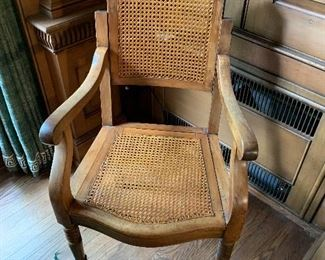 Cane chair, back adjusts up and down