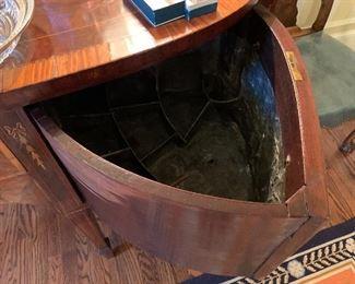 Detail of zinc liquor drawer in buffet