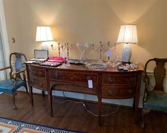 Buffet -please note, lamps are not offered in this sale. Gorham, Reed and Barton Sterling candle sticks
