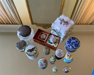 China and assorted trinket boxes