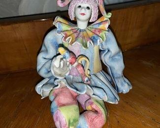 Italy italian pottery clown figurine Gump's San Francisco