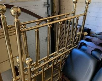 Pair of brass twin beds, no side rails