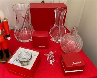 Baccarat glass vases, angel and jam pot