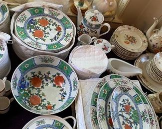 A better view of the hand painted Hong Kong china -a very large set