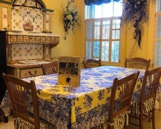 The owner recreated Claude Monet's Giverny Kitchen . Items are for sale. Harvest Table