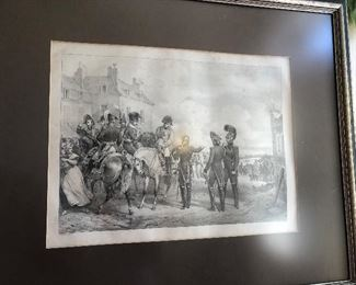 one of a set of antique prints of Napoleon's battles