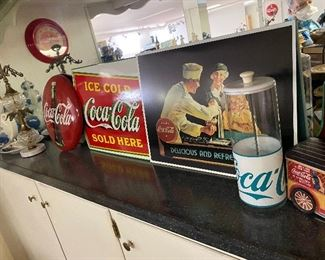Coca Cola Advertising Button and Signs