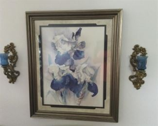 Iris Panting Framed With 2 Sconces