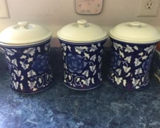 3 Blue And White Canisters