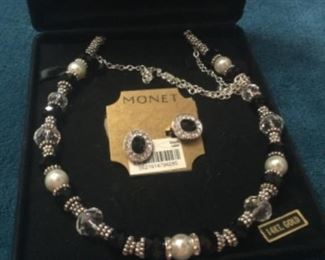 Monet Black And Pearl Necklace And Ear Rings