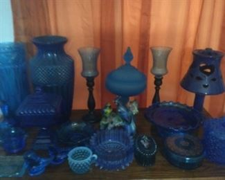 Lots Of Beautiful Blue Glassware