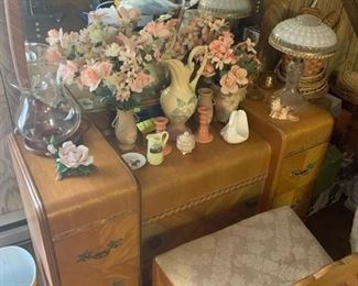 Waterfall Dresser And Chair (Part Of A Bedroom Group)