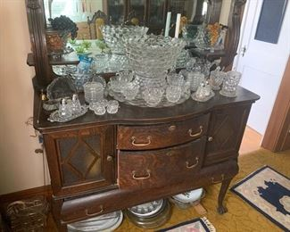 Wonderful Antique Server With Mirrow and Lots Of Fostoria