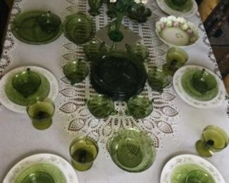 Vintage Dining Table And Chairs. (Part Of A Dining Room Set). Displaying a Lovely Set Of Green China