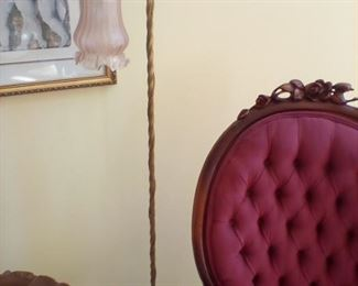 Brass floor lamp with pink globe