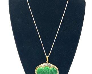 18k gold jade and diamond