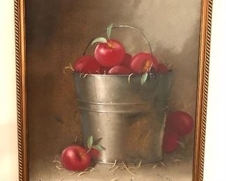 """$395  Donald F. Allan (American, 1927-2013), """"Still Life with Pail of Apples"""", oil on board. 21.25"""" H x 17.25"""" W"""