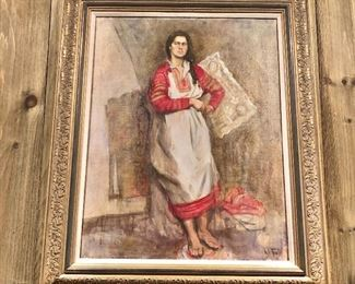 """$495 """"Traditional Russian Lady"""", oil on canvas, signed lower right and verso. 36"""" H x 29"""" W"""