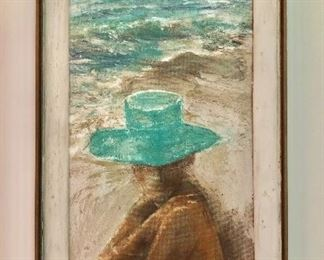 """$425 Marion Lonsdale """"Beach Hat"""" Polymer mixed media on artist's board, signed lower right and titled on label verso. 36"""" H x 22.25"""" W"""