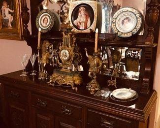 Mirrored Victorian side board (notice the beautiful clock