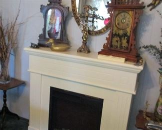 clock, mirror & electric fireplace