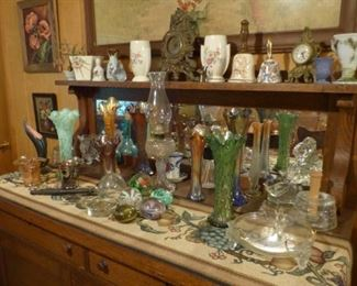 Glassware, lamps, mantle clocks and more