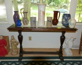 Window table/ pottery vases and more