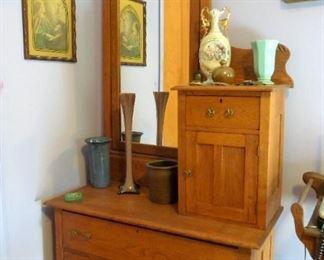Clean oak unusual dresser