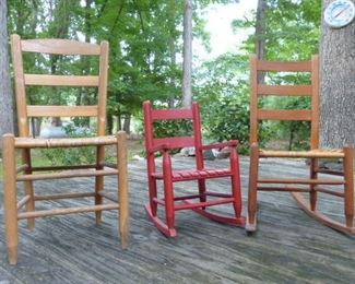 Various rockers and straight back chair