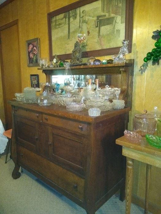 Oak sideboard with mirror backsplash